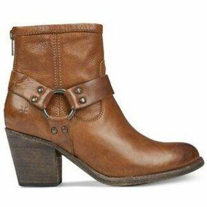Frye Tabitha Harness Cognac Leather Short Boots